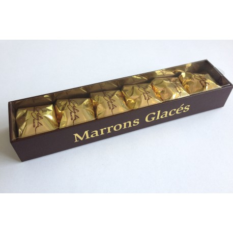 Réglette de 6 marrons glacés (Marron entier sous alu Or)